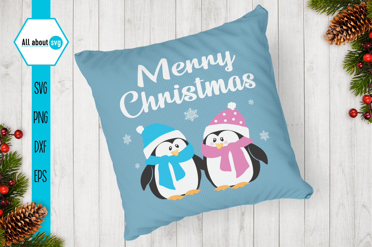 Merry Christmas Penguins Svg example image 3
