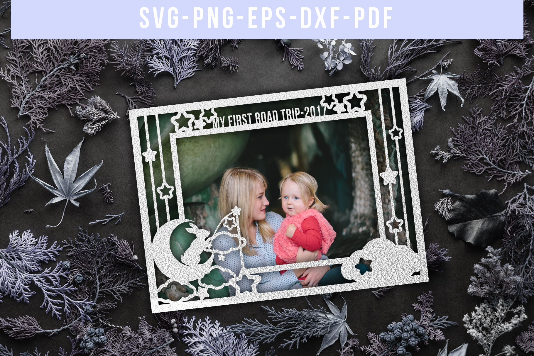 Customizable Landscape Photo Frame Papercut Template, Baby example image 1