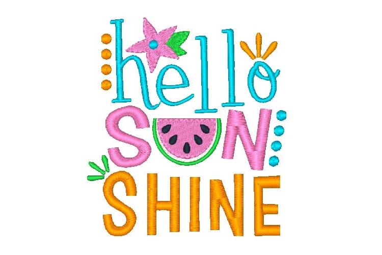 Hello Sunshine Embroidery Design Saying Children Quotes example image 1