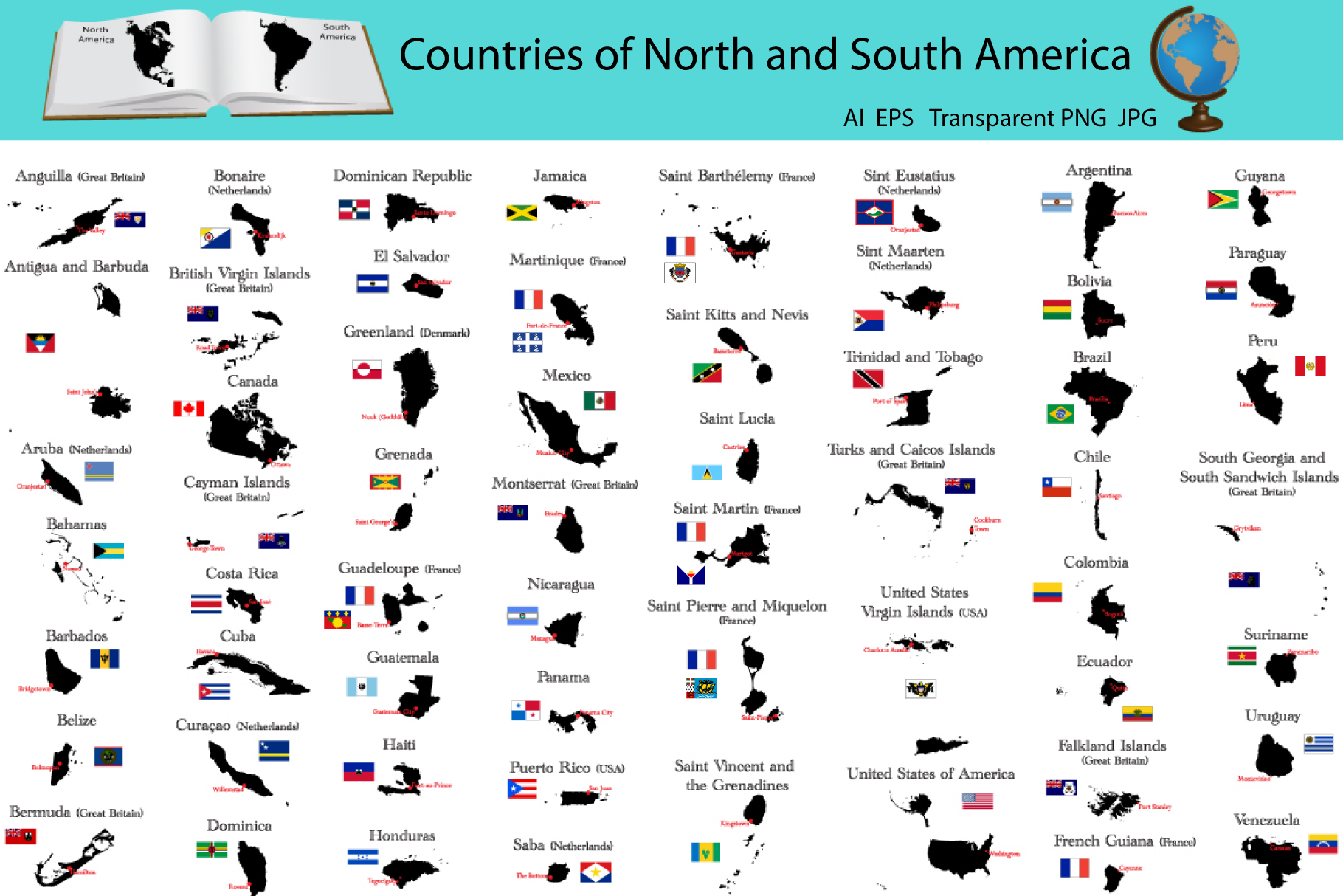 Countries of North and South America example image 1