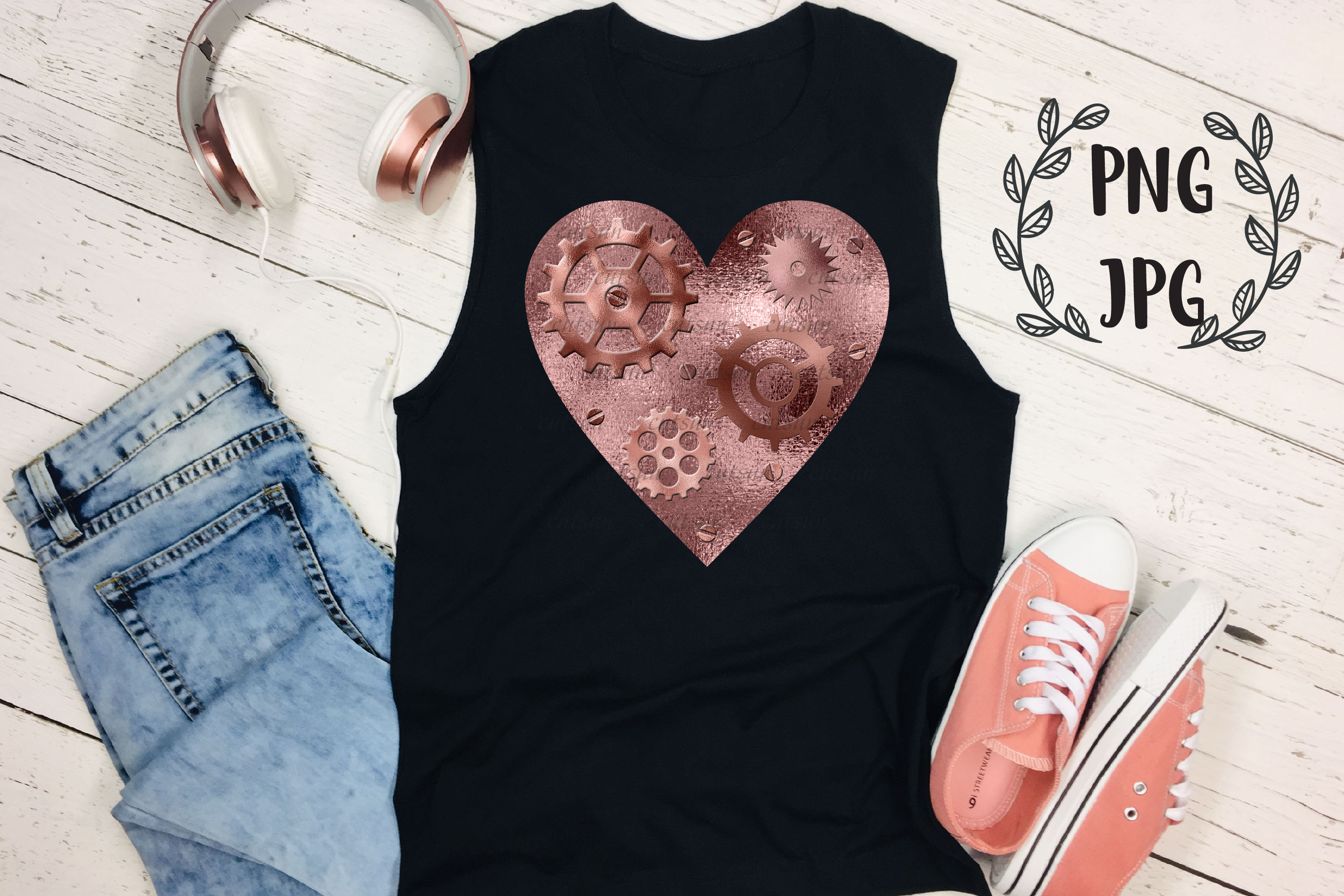 Steampunk Heart Rose Gold sublimation design example image 4