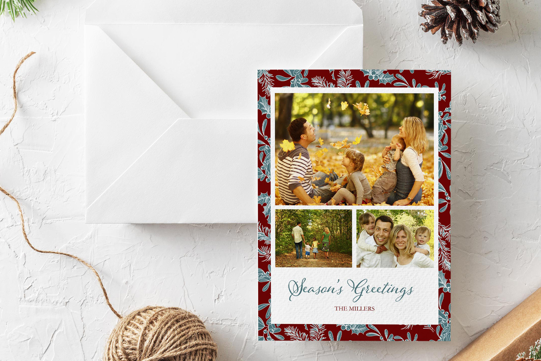 Season's Greetings Christmas Card Photoshop template example image 1