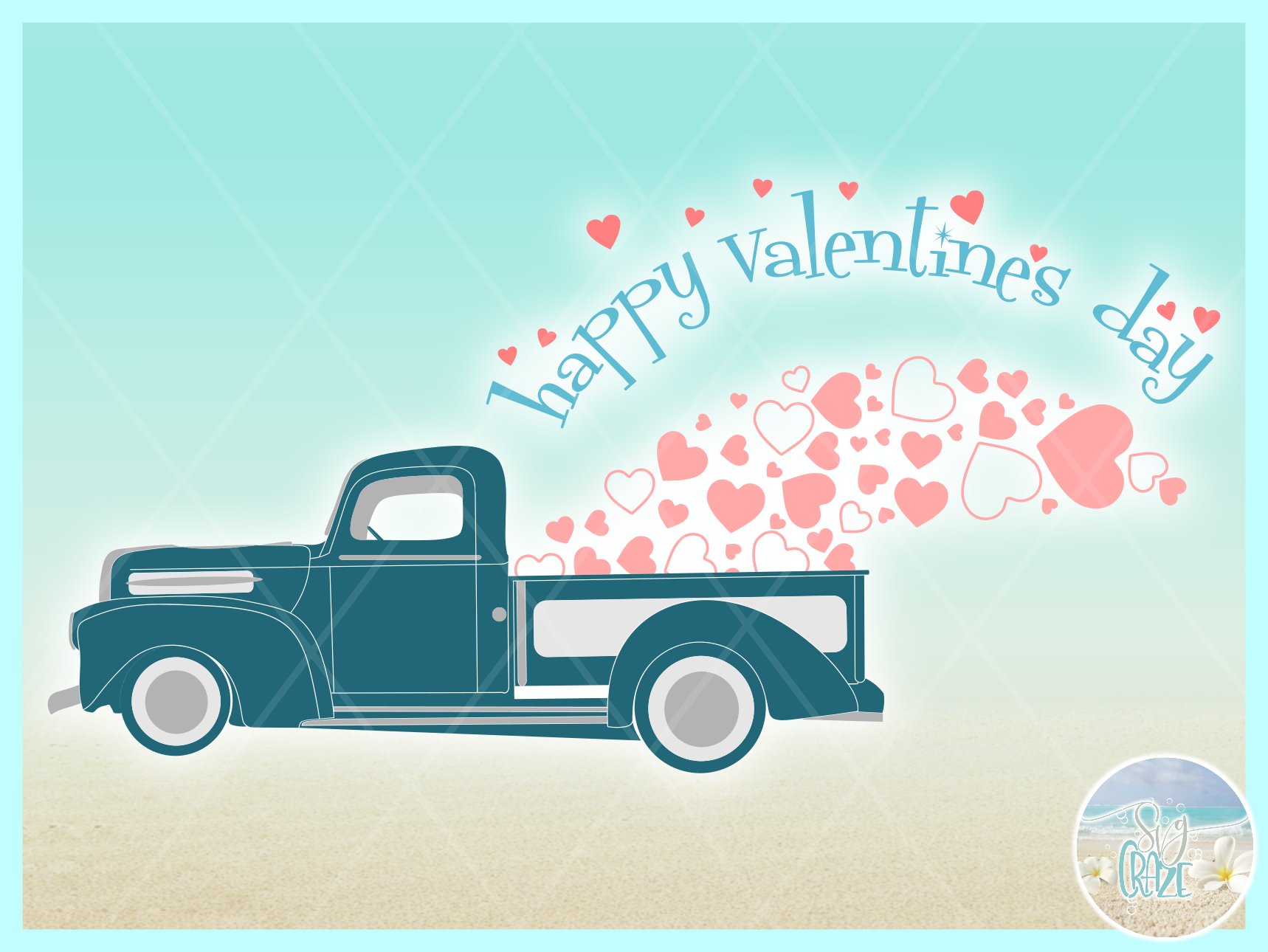 Happy Valentines Day Hearts Truck Svg Dxf Eps Png Pdf example image 3