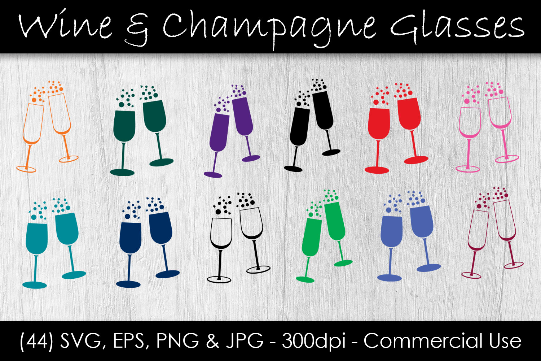 Wine & Champagne Glass SVG Bundle - Wine Glass Clip Art example image 1