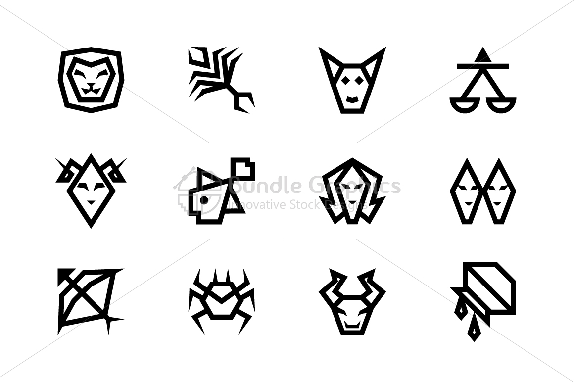 Bold Geometric Zodiac Signs - Vector Icon Set example image 2