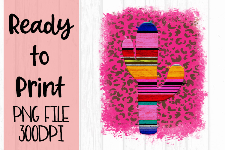 Serape Cactus on Pink Leopard Ready to Print example image 1
