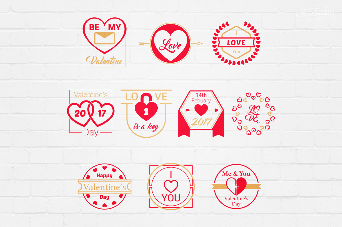 Valentine's Day Love Vector Badges Logos example image 1