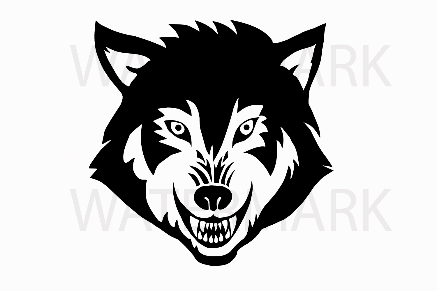 Wolf Face in Black with Transparent Background - SVG/JPG/PNG Hand Drawing example image 1