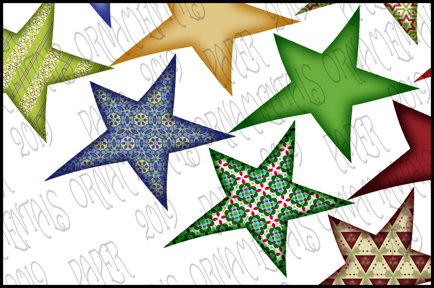 Christmas Clip Art, Holiday Primitive Stars example image 3