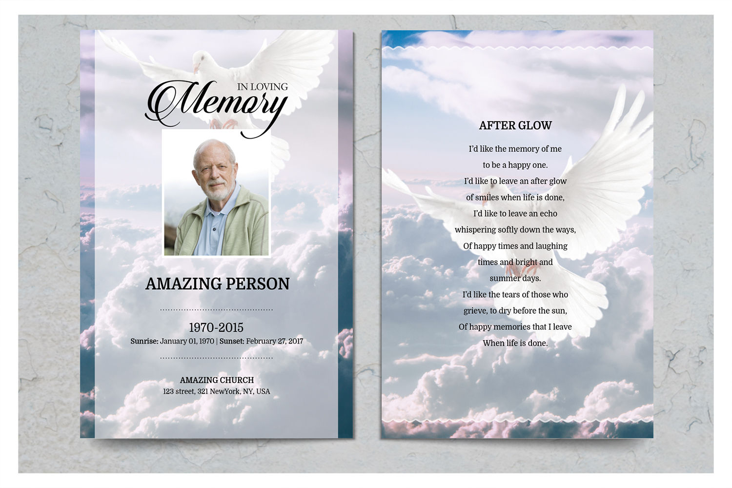 Dove and Sky Funeral Prayer Card Template example image 2