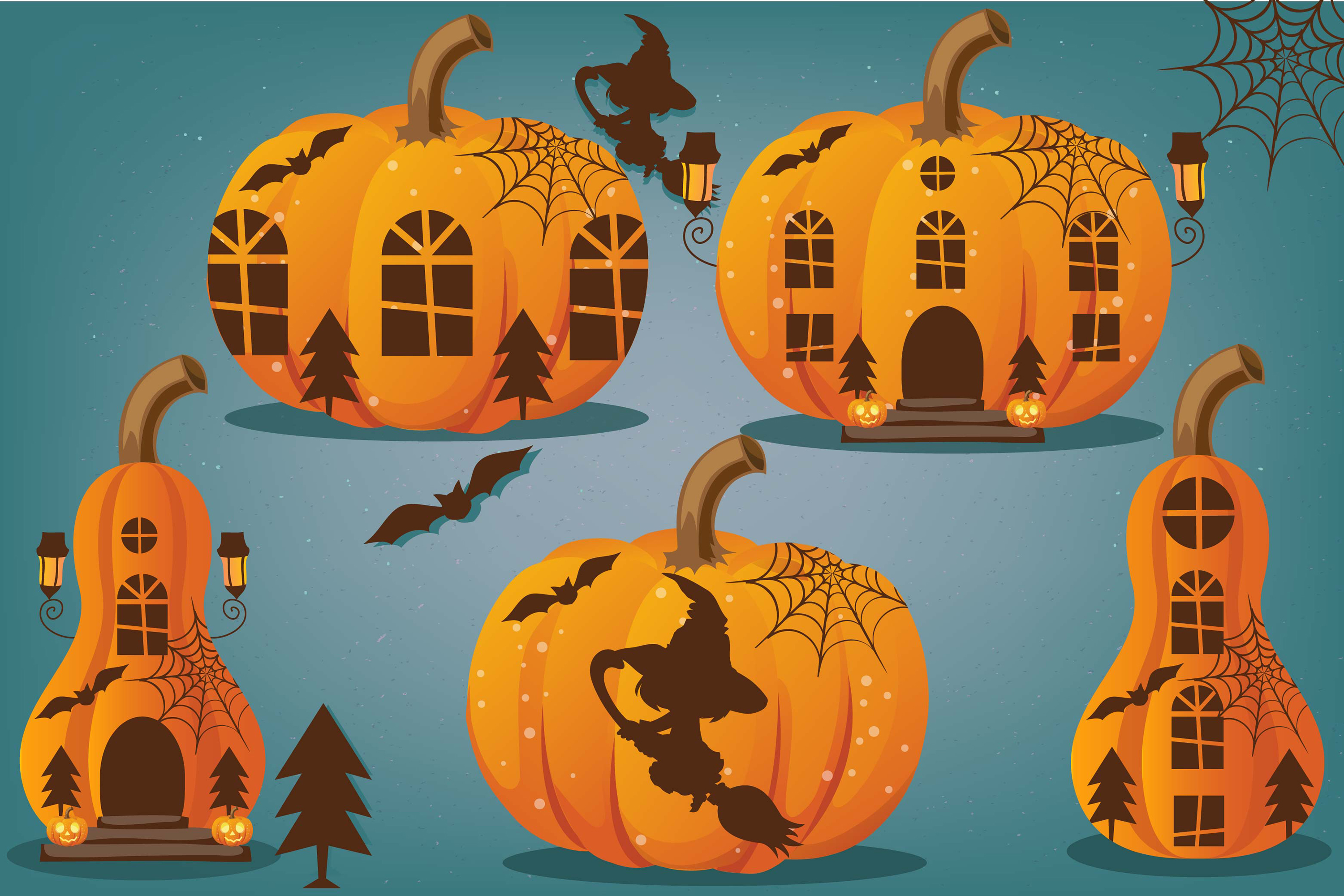 Halloween bundle, Halloween illustrations, Halloween pumpkin example image 3