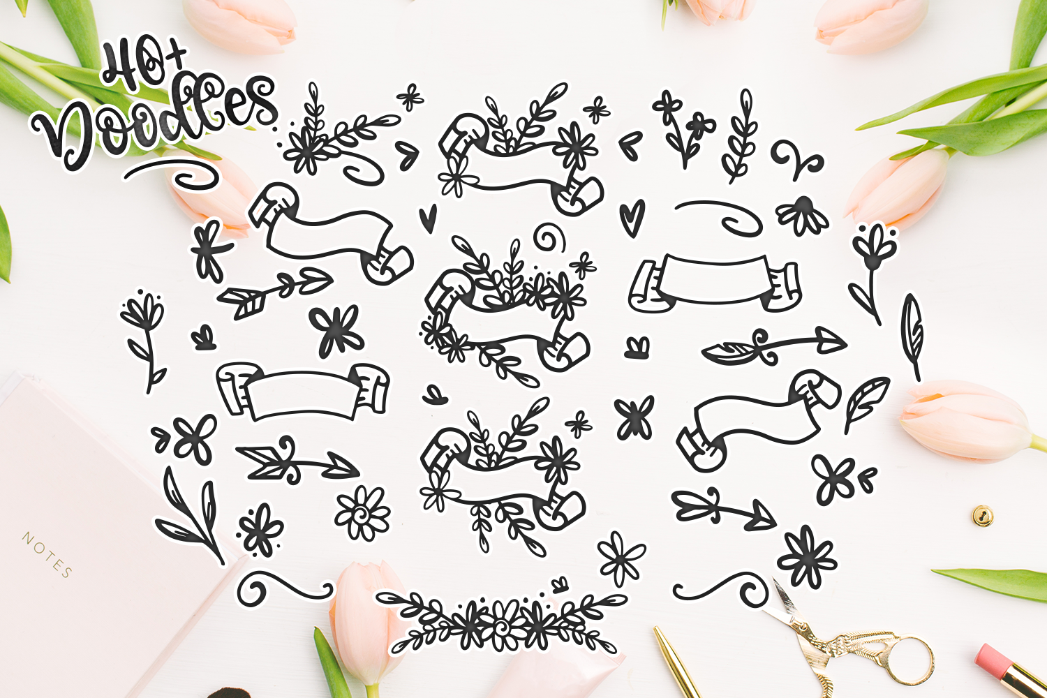 Blossomy - Font Duo Floral Doodles example image 7