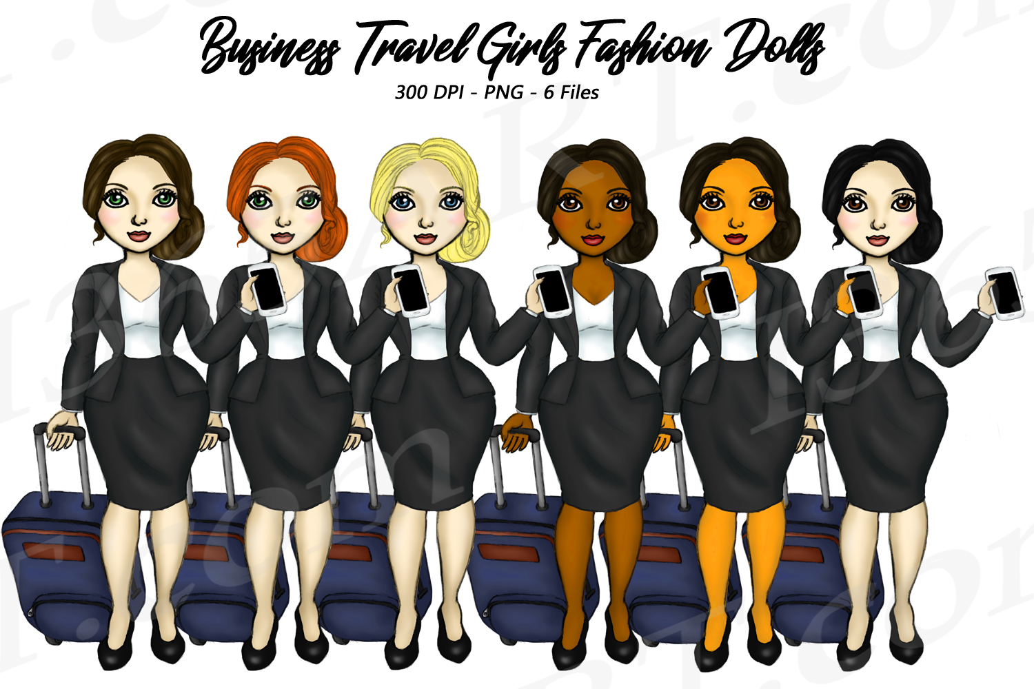 Business Travel Clipart Girls, Fashion Doll Illustrations example image 1