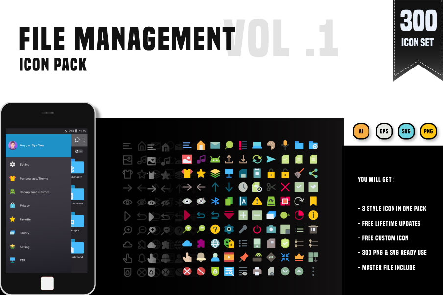 300 File Management System - Icon pack example image 1