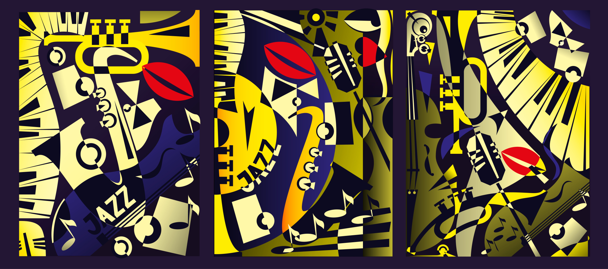 Triptych painting - jazz music in retro geometric abstraction style - 2. Vector illustration example image 2