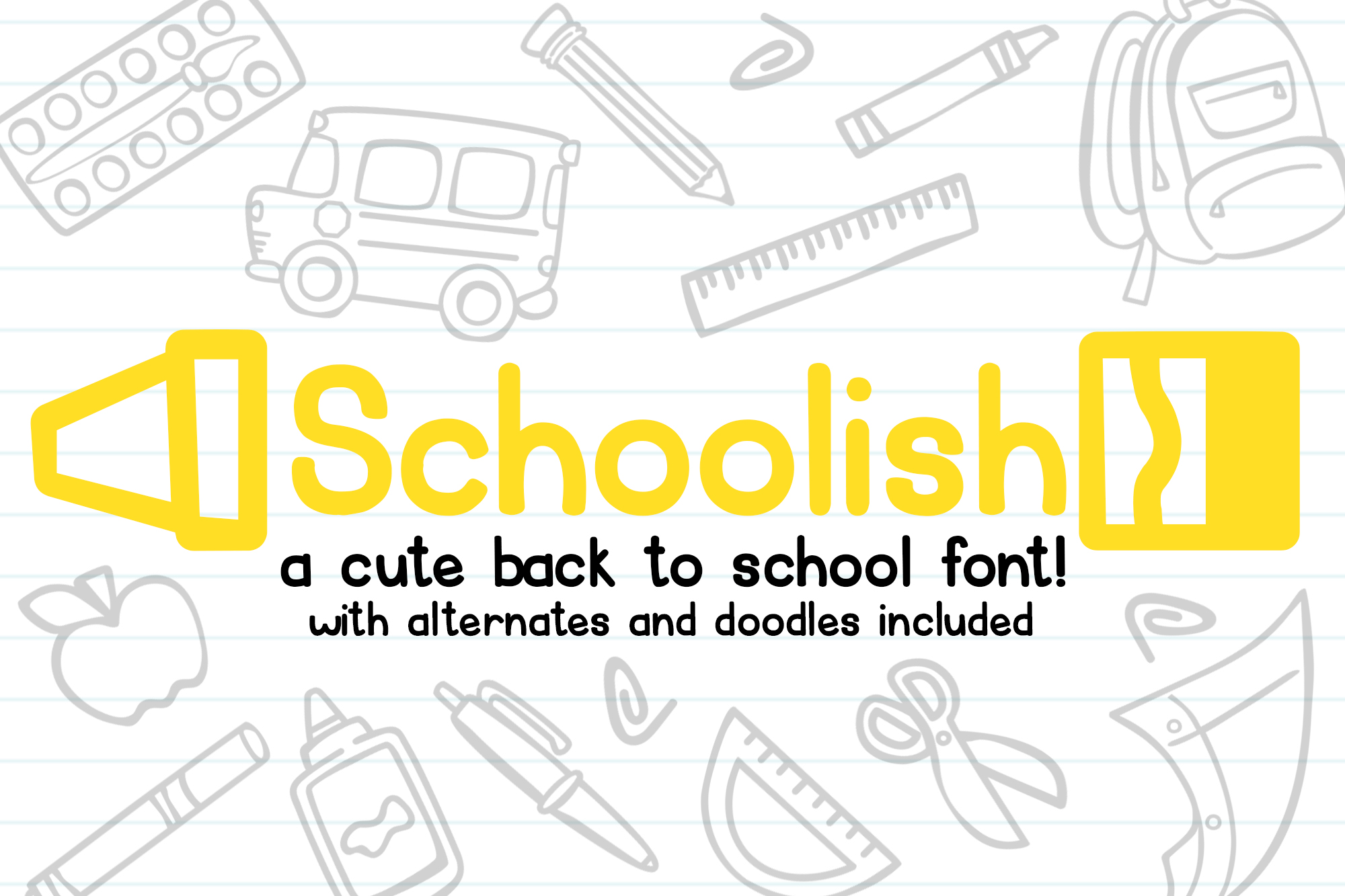 Schoolish| A Cute Back to School Font| With Doodles! example image 1