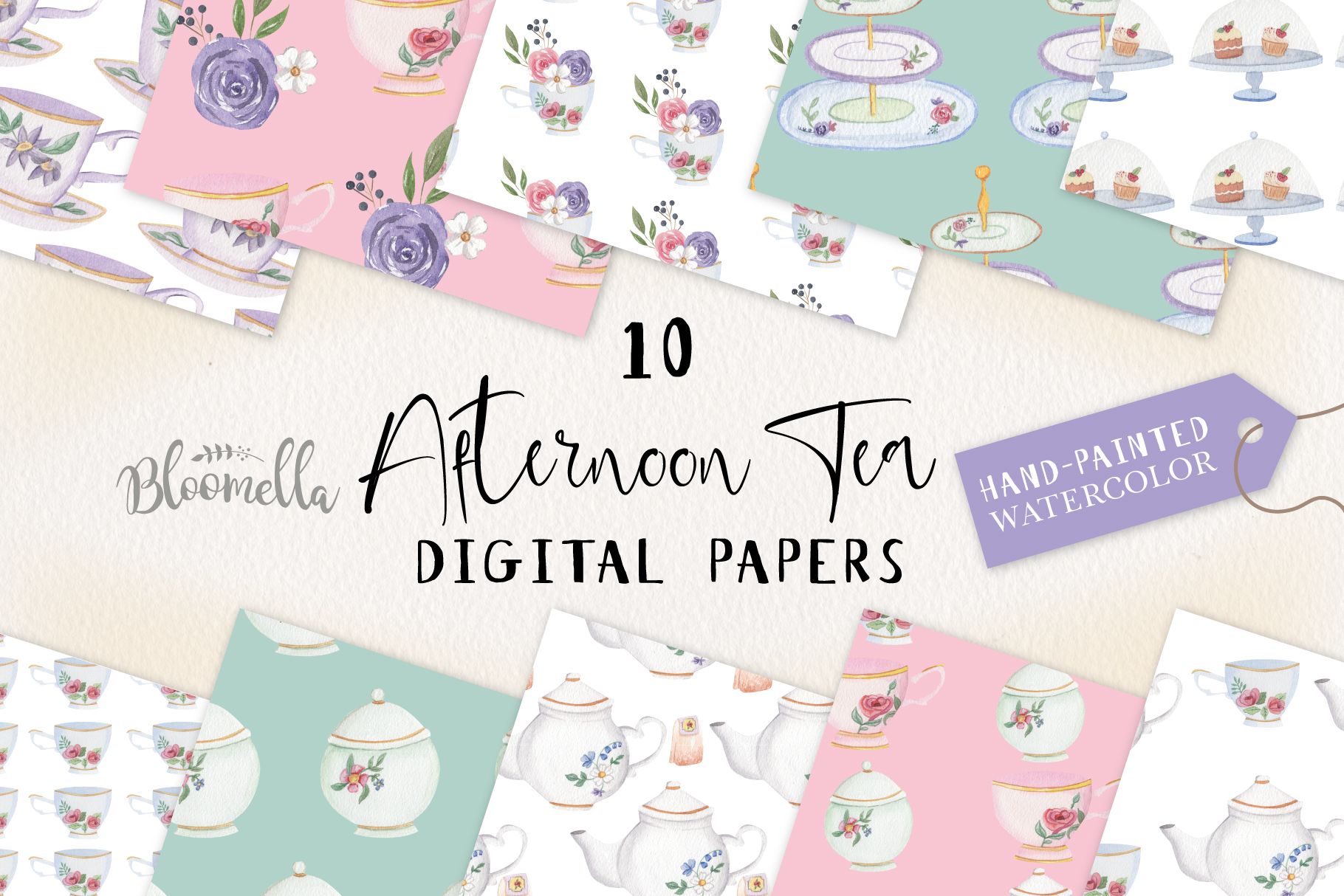 Afternoon Tea 10 Seamless Patterns Digital Papers Teapot Cup example image 1