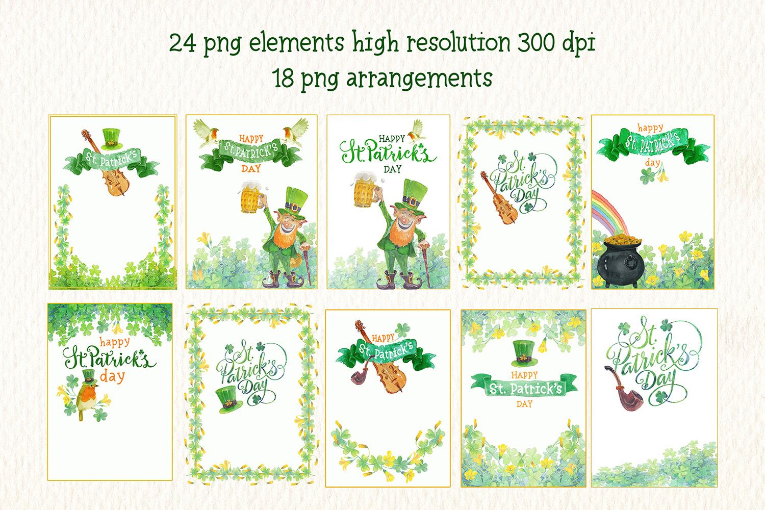 st. Patricks day watercolor clipart example image 2