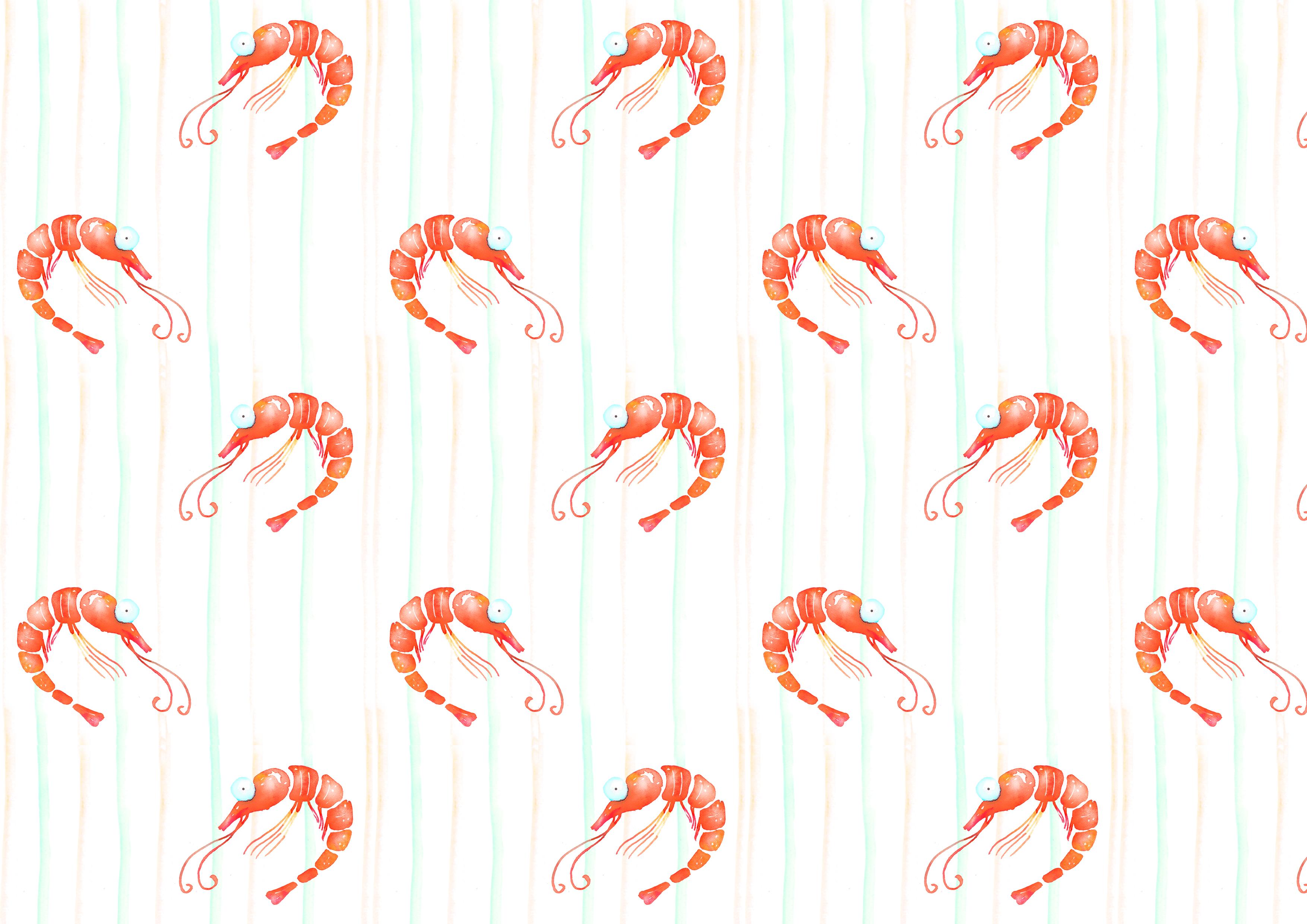 Shrimps watercolor patterns set example image 3
