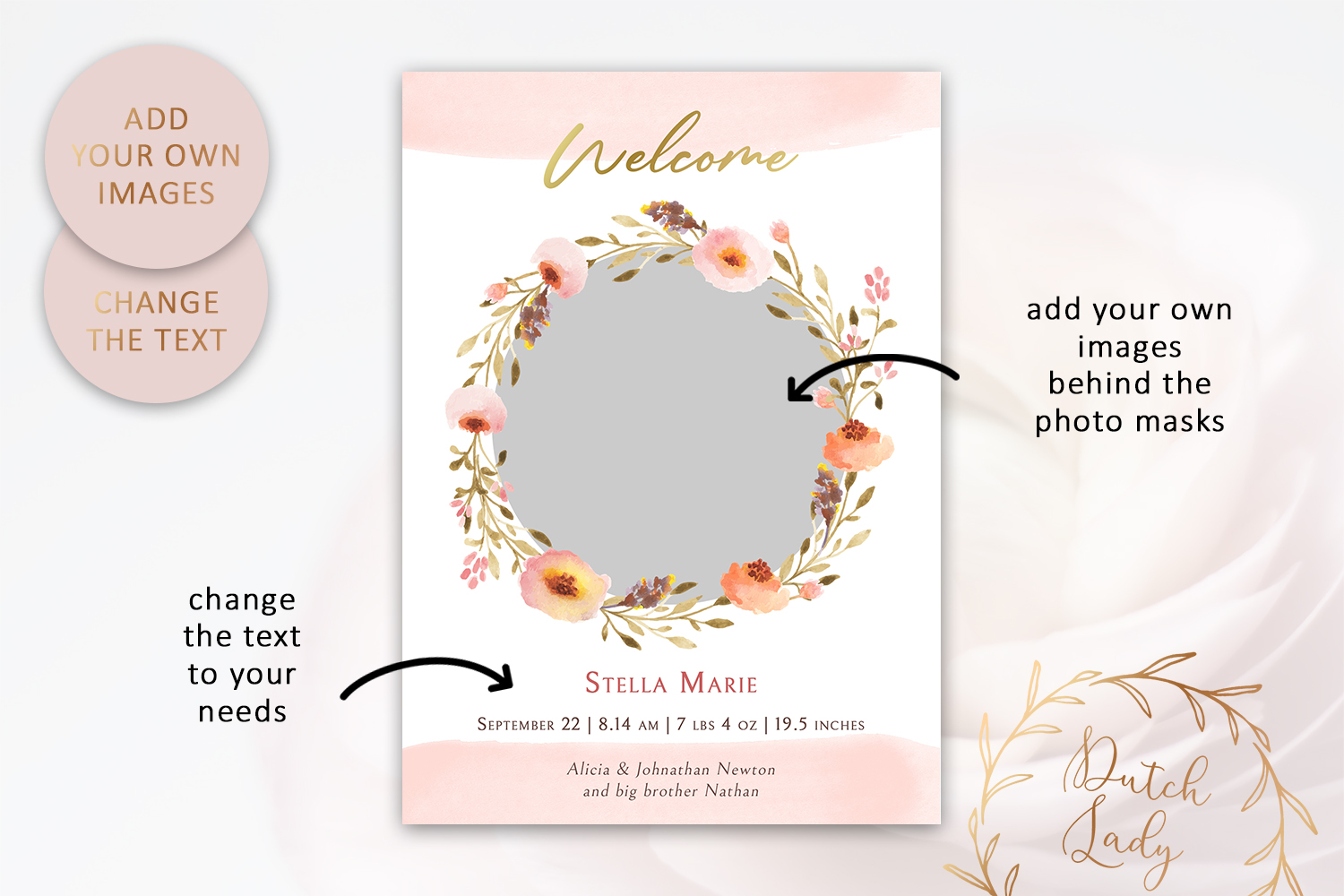 PSD Birth Announcement Card Template - Design #4 example image 2