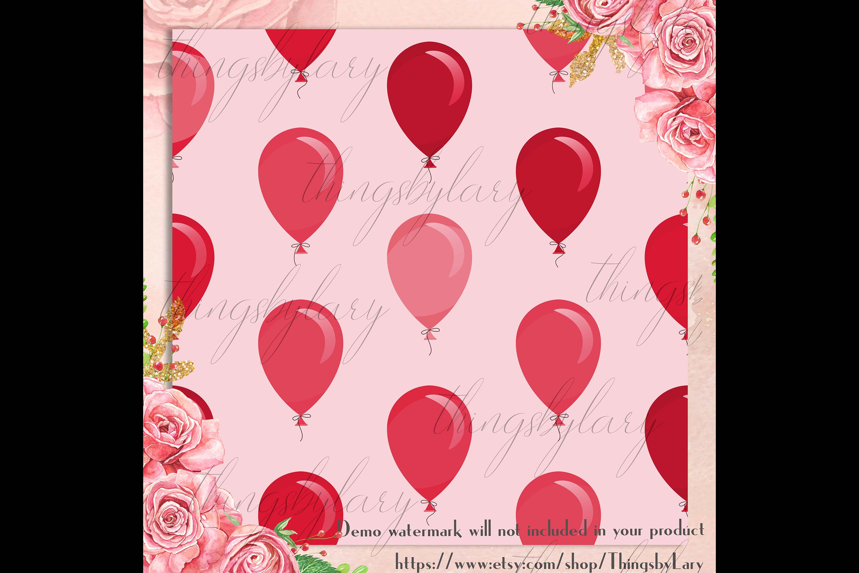 100 Seamless Balloon Pattern Kid Birthday Digital Papers example image 3