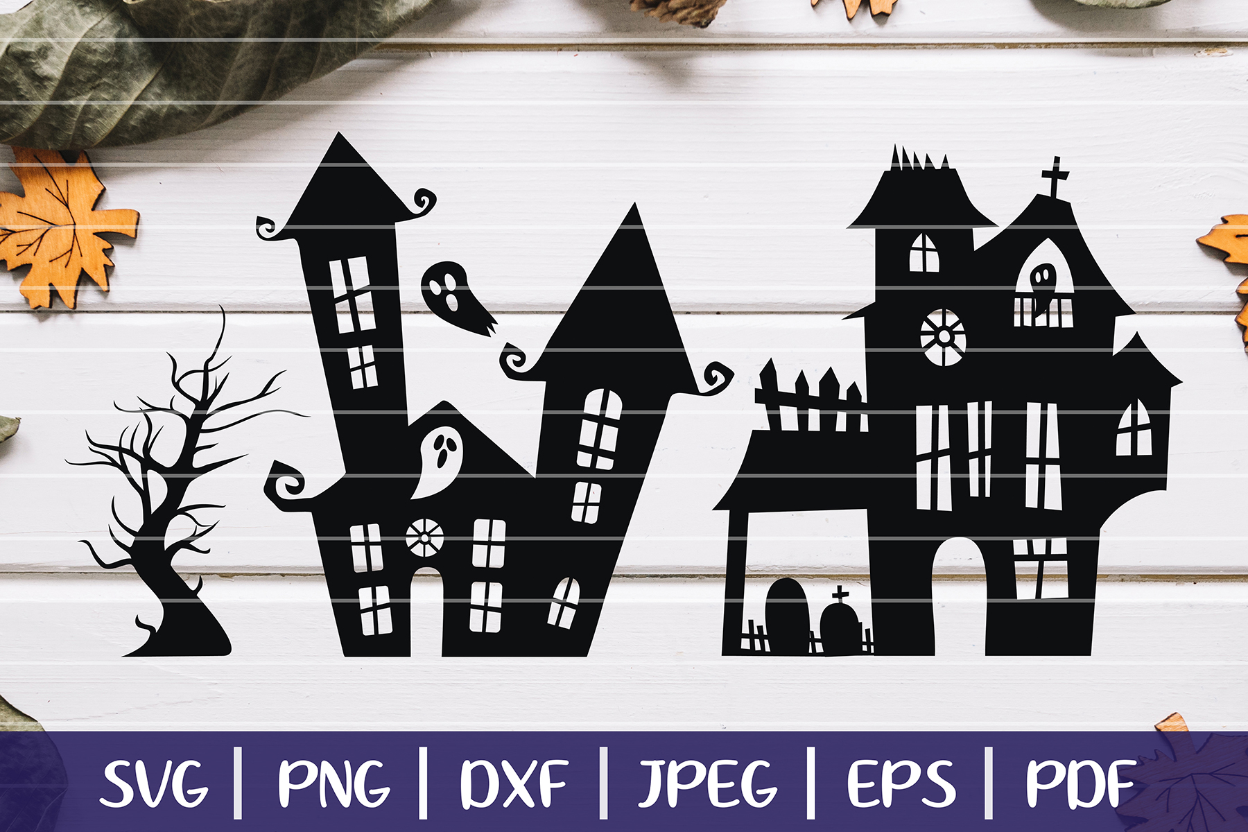 Haunted House SVG Silhouettes, Halloween Haunted Mansion SVG example image 1