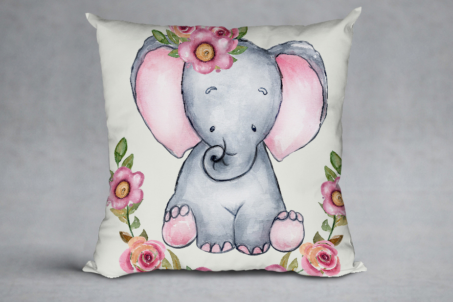 Cute Elephant clipart,WATERCOLOR ANIMALS, Baby shower clipat example image 7