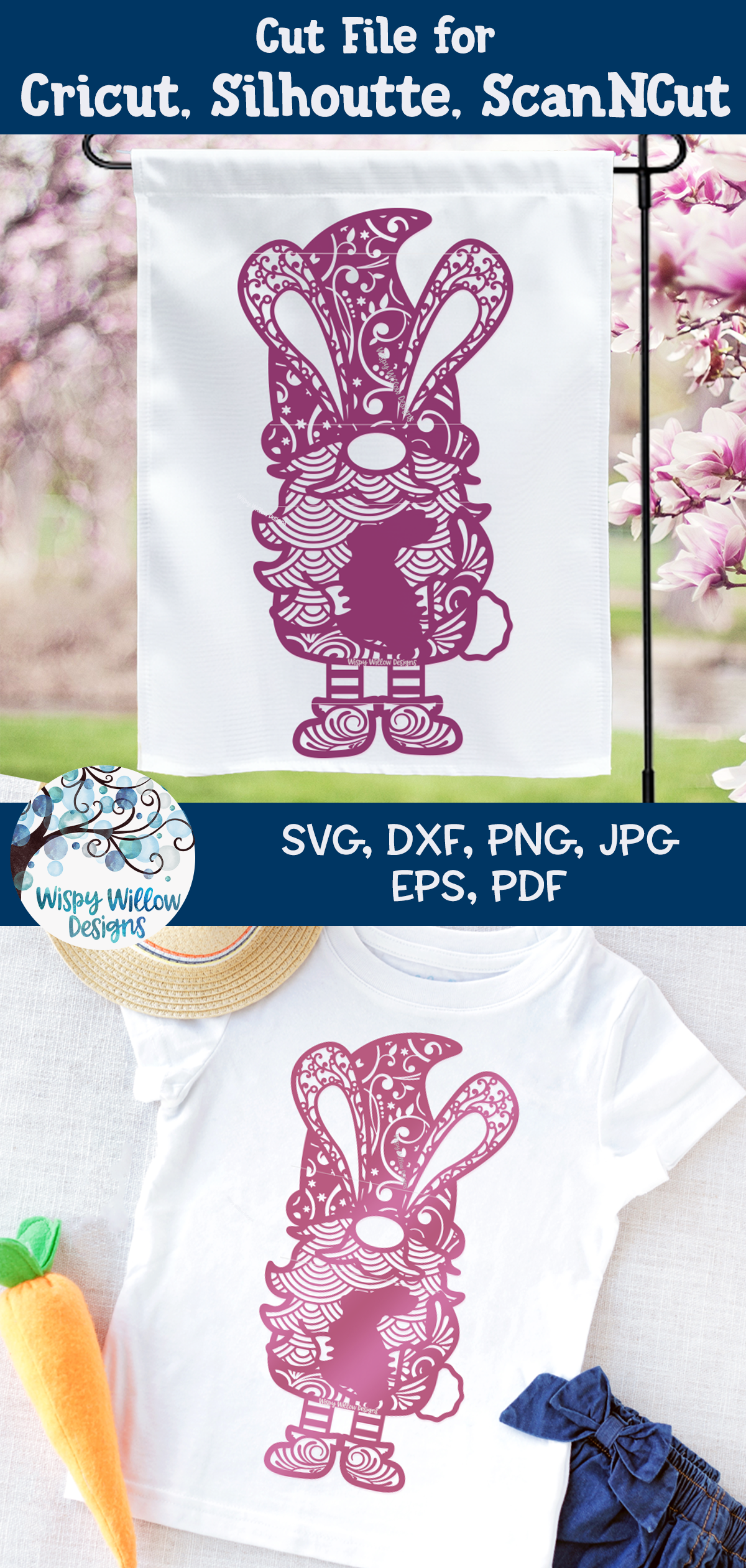 Easter Gnome Zentangle SVG   Gnome Mandala SVG example image 4