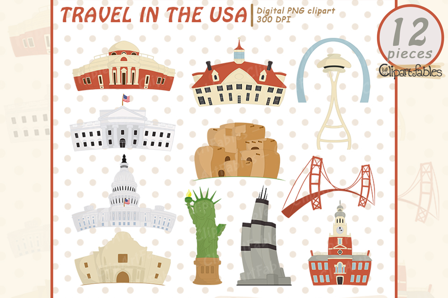 Around in the USA clipart, Famous national buildings example image 1