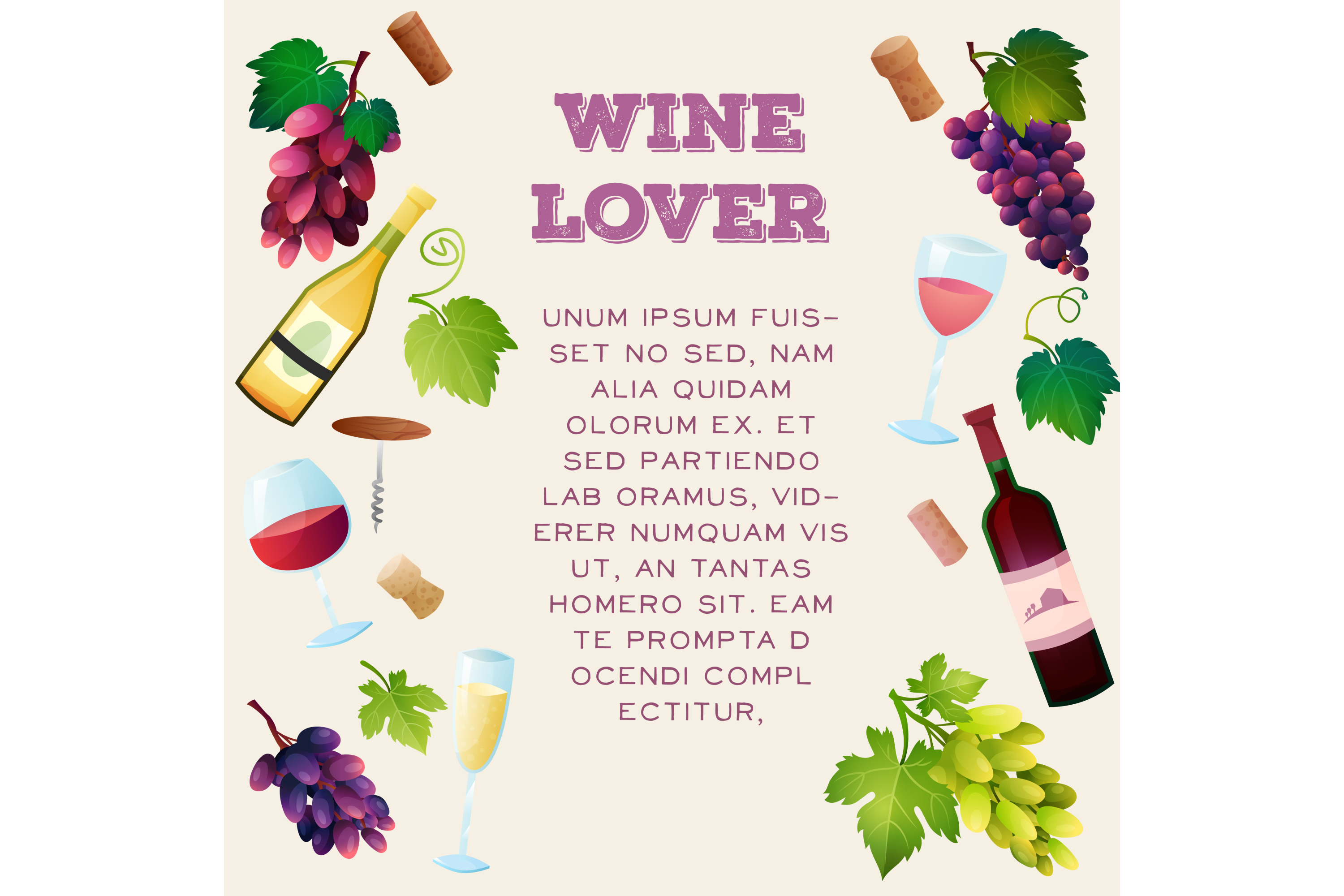 Wine vector set 15 items + 3 compositions example image 3
