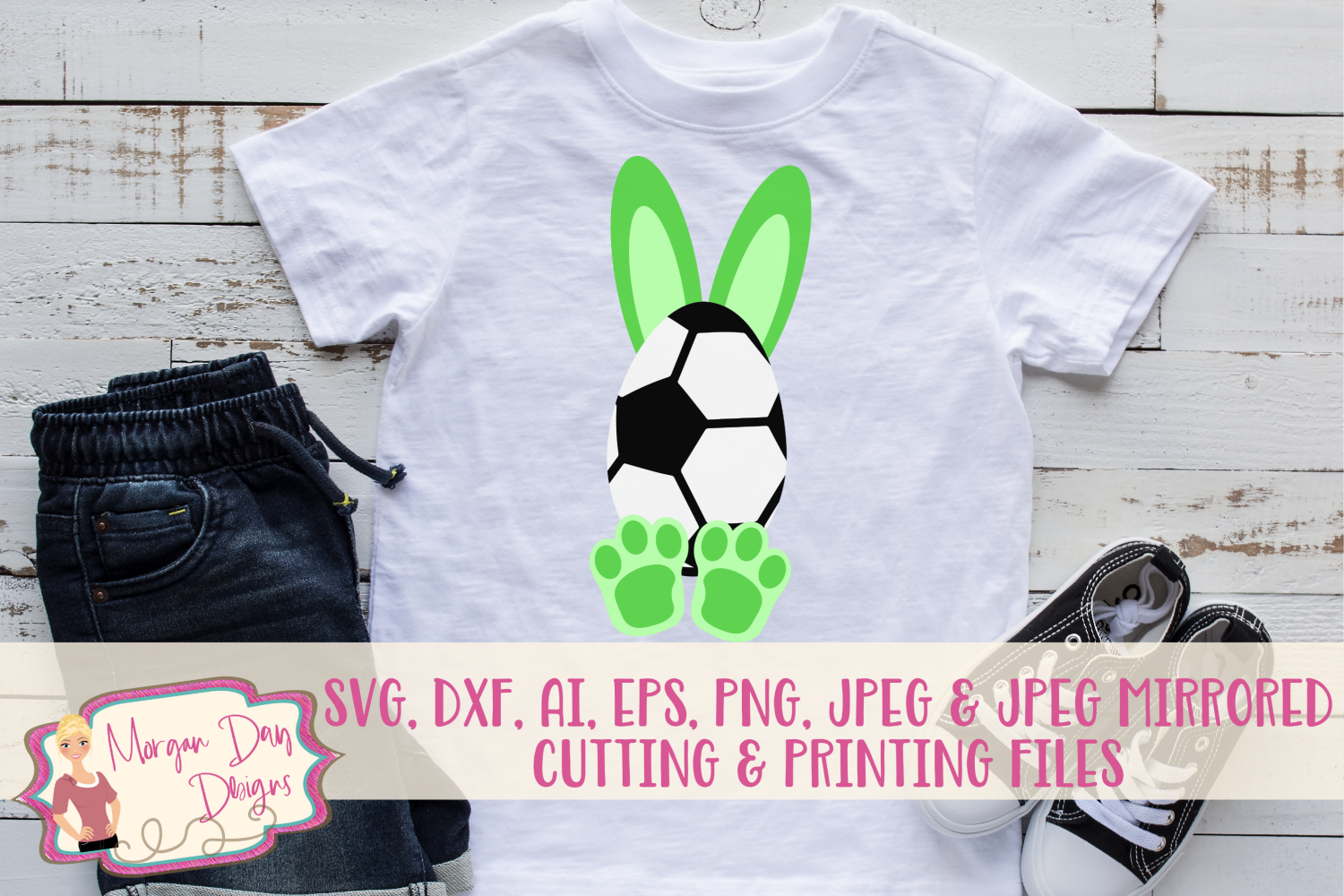 Soccer Bunny - Easter SVG, DXF, AI, EPS, PNG, JPEG example image 1