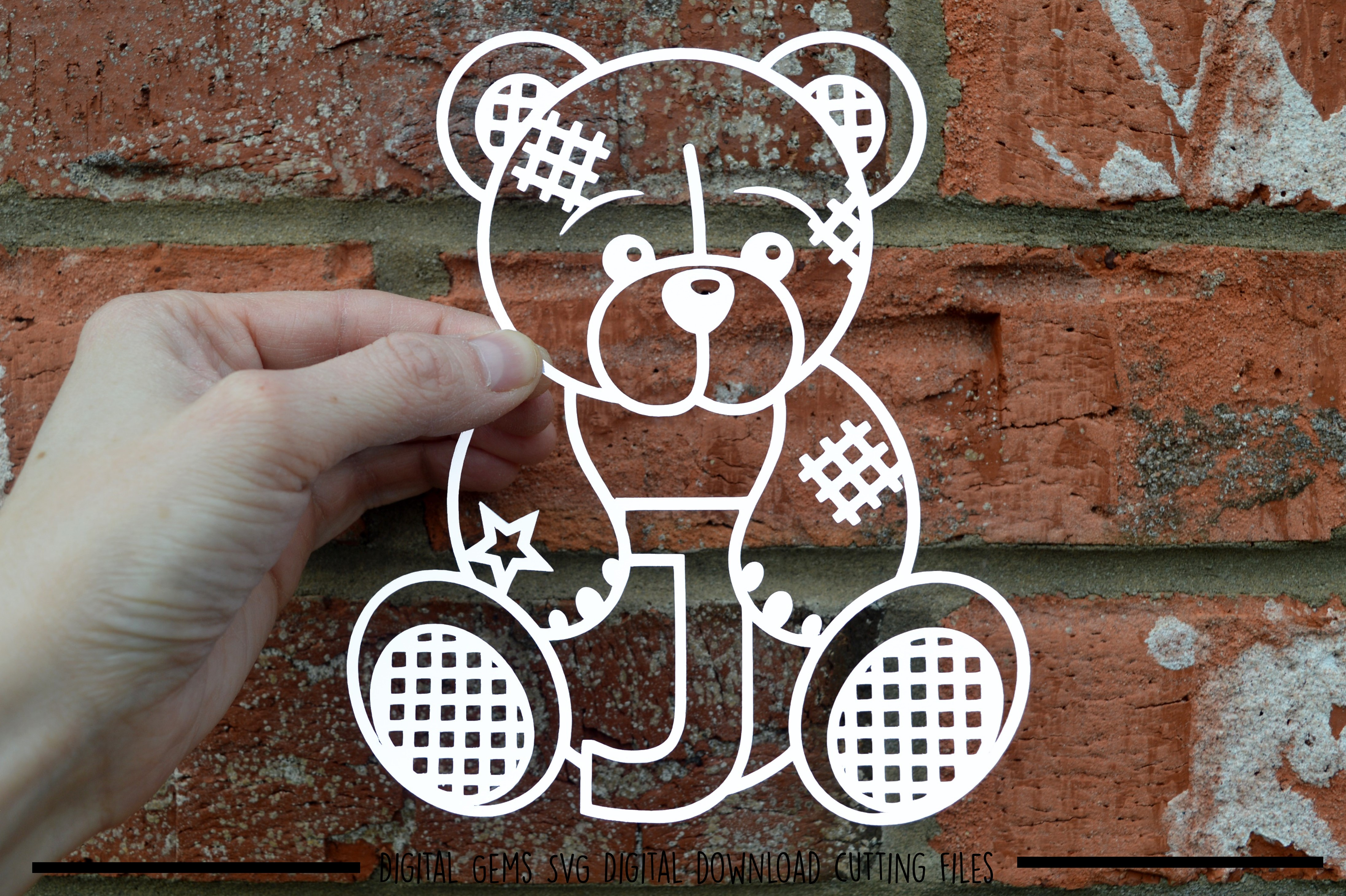 Alphabet teddy bear paper cuts SVG / DXF / EPS files example image 16