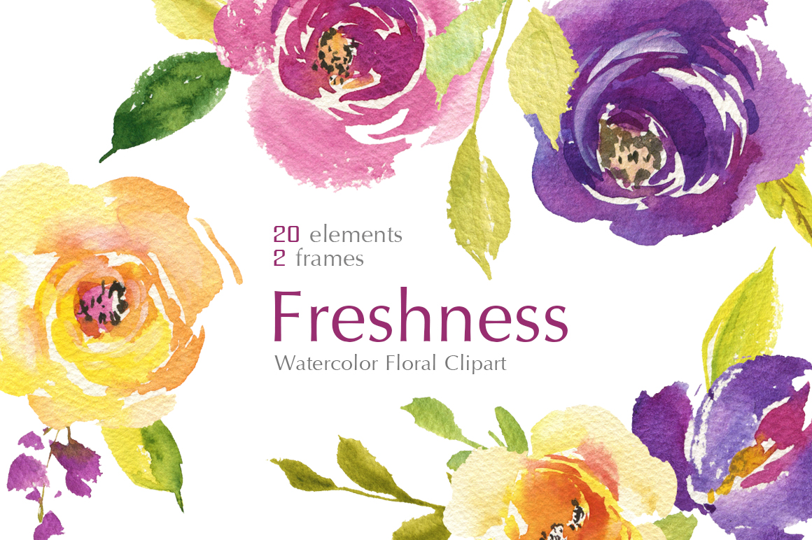 Bright Watercolor Purple and Yellow Roses Flowers PNG example image 1