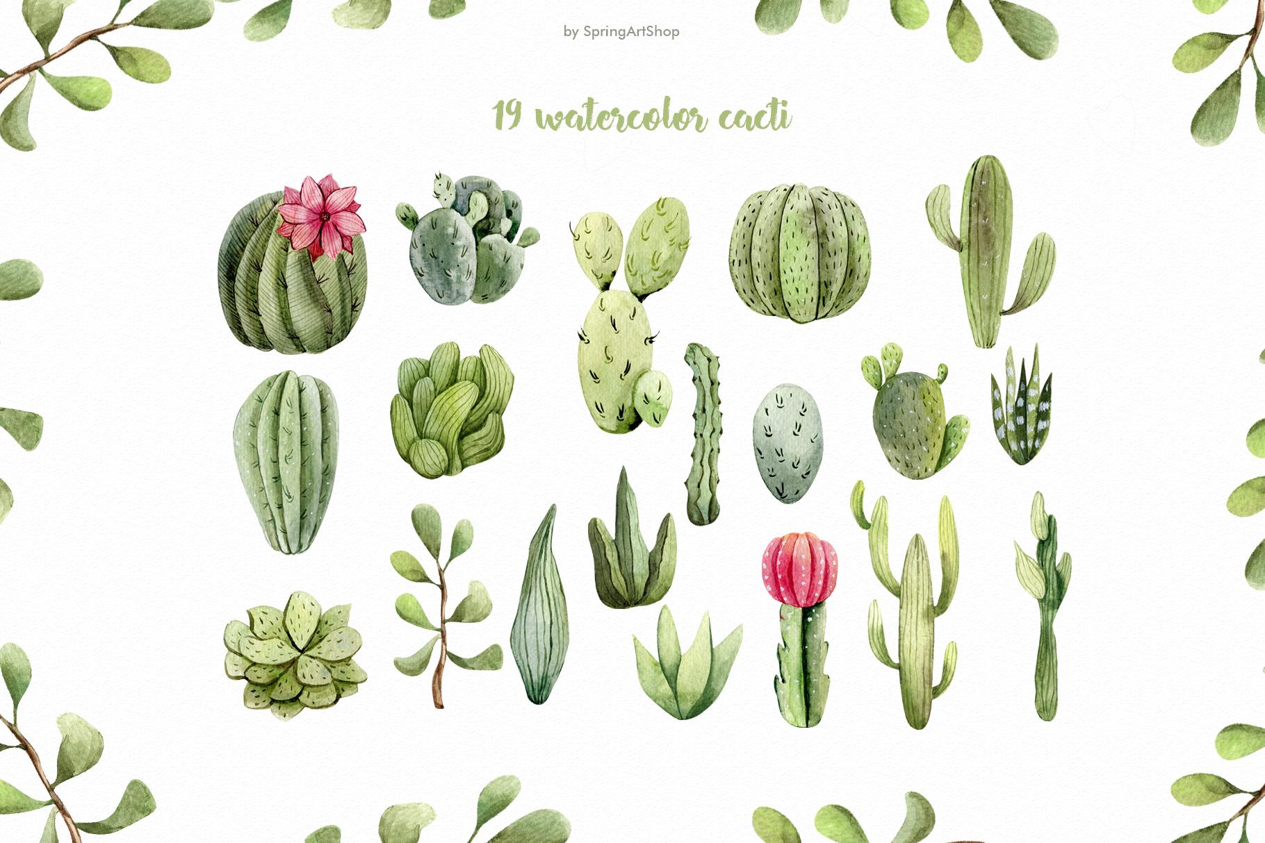 Watercolor Cacti clipart Plants watercolor succulents example image 5