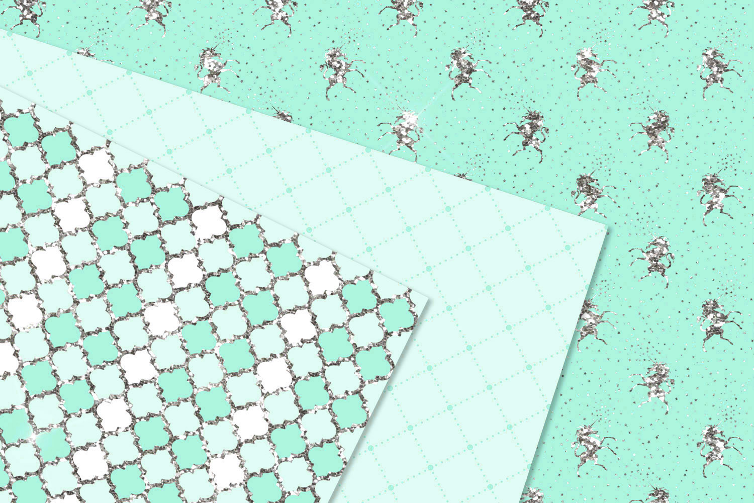 Aqua and Silver Glitter Digital Paper example image 2
