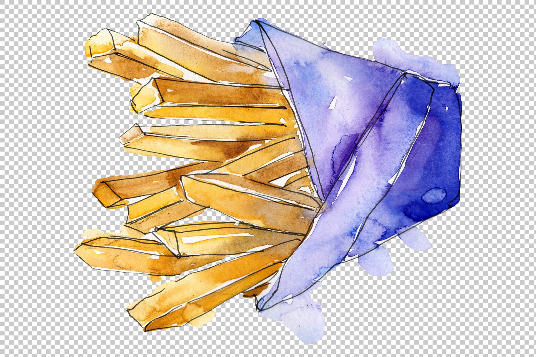 French fries Watercolor png example image 3
