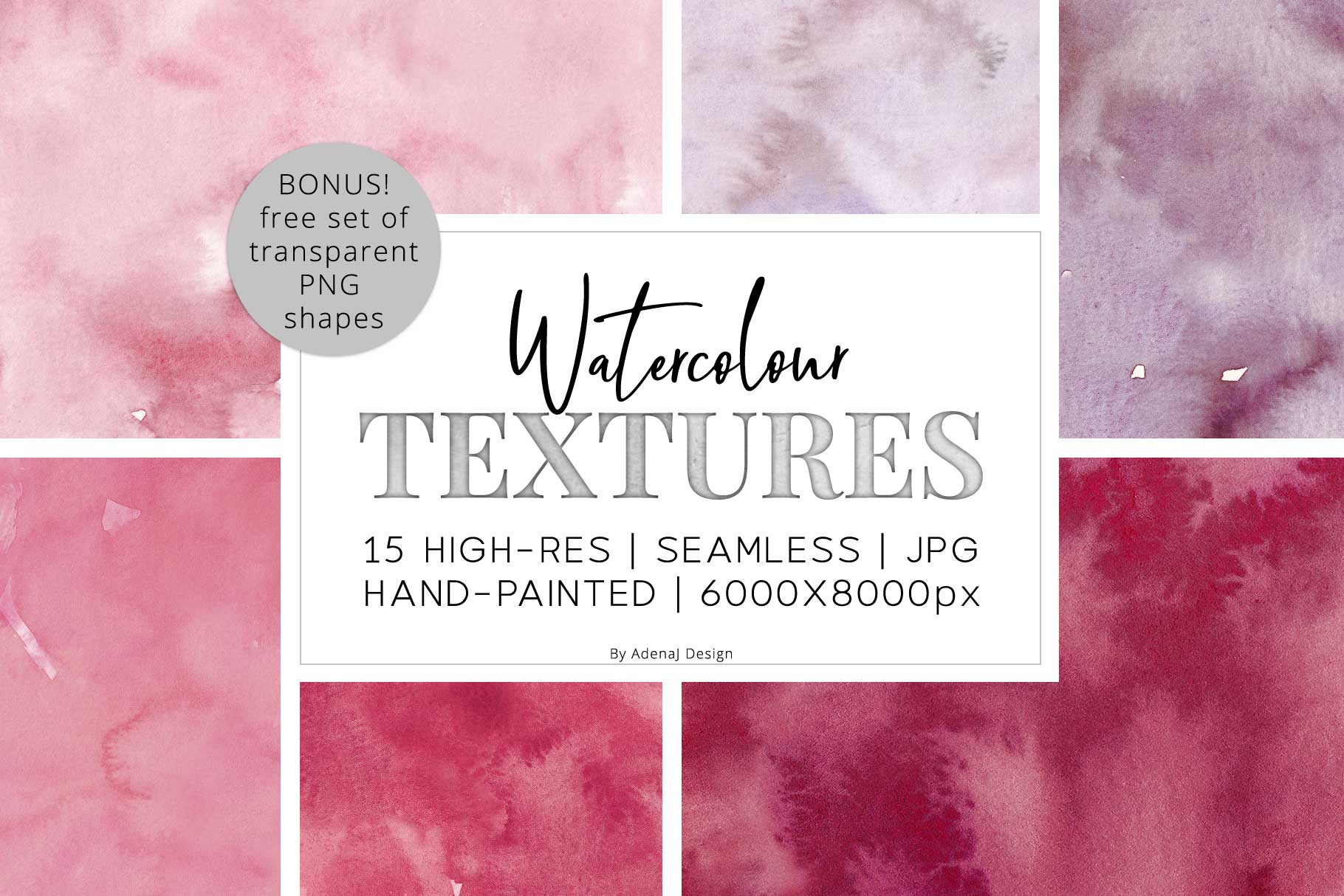 15 Huge Seamless Pink & Grey Watercolor Textures example image 1