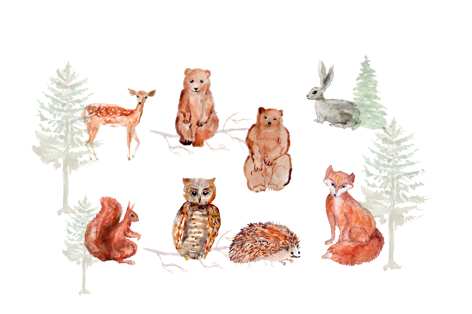 Forest Animals Clipart, Woodland Creatures, Fox, Bear, Owl example image 2