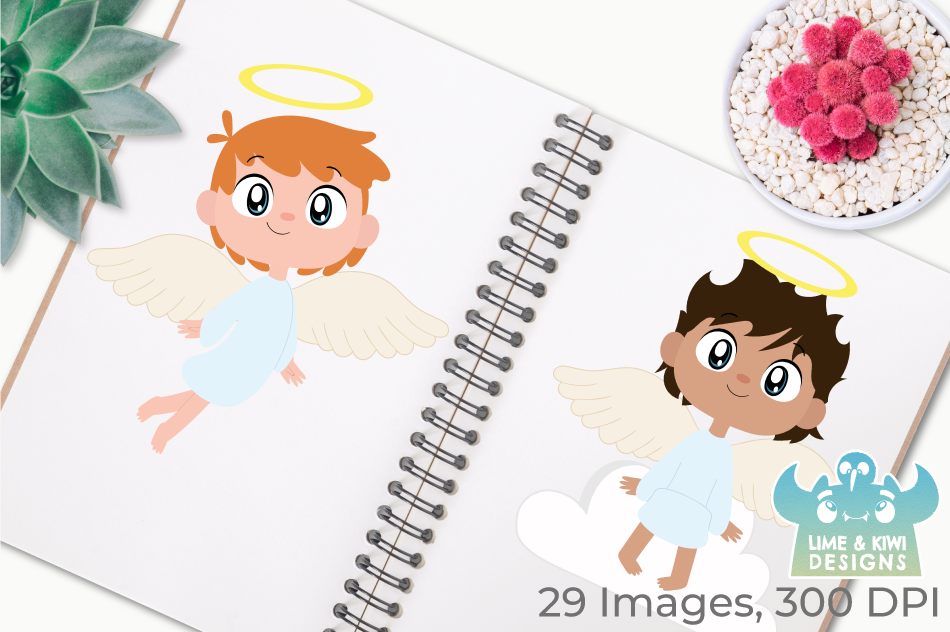Angel Boys Clipart, Instant Download Vector Art example image 3