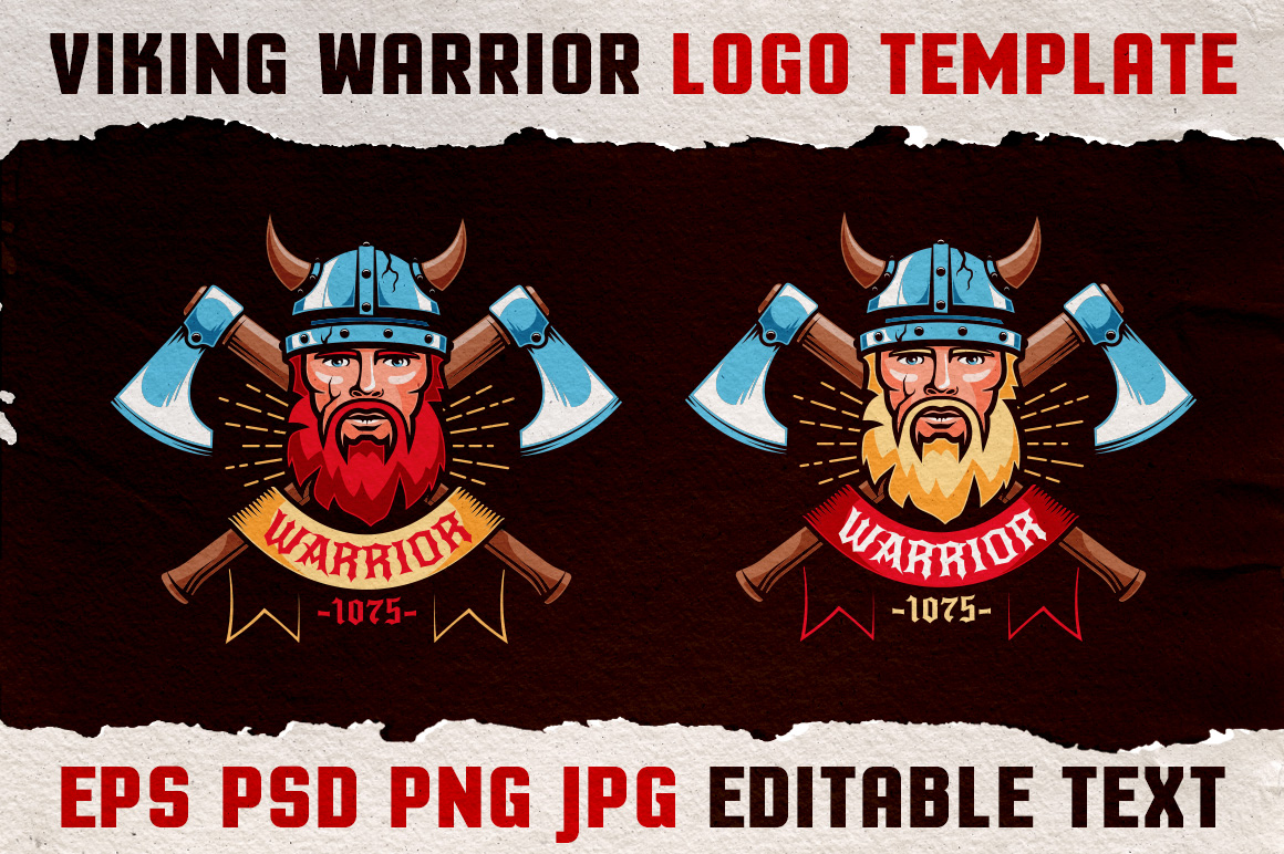 Viking Warrior Logo Colored Template example image 2