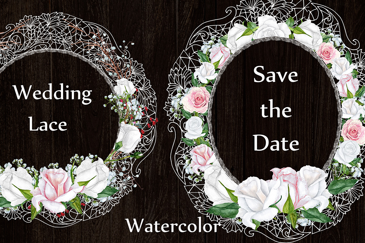 White lace floral frames clipart example image 3