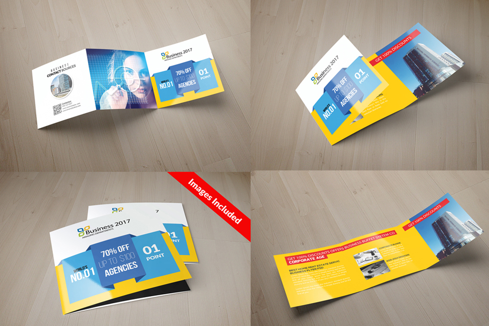 25 Square Trifold Business Brochures Bundle example image 17