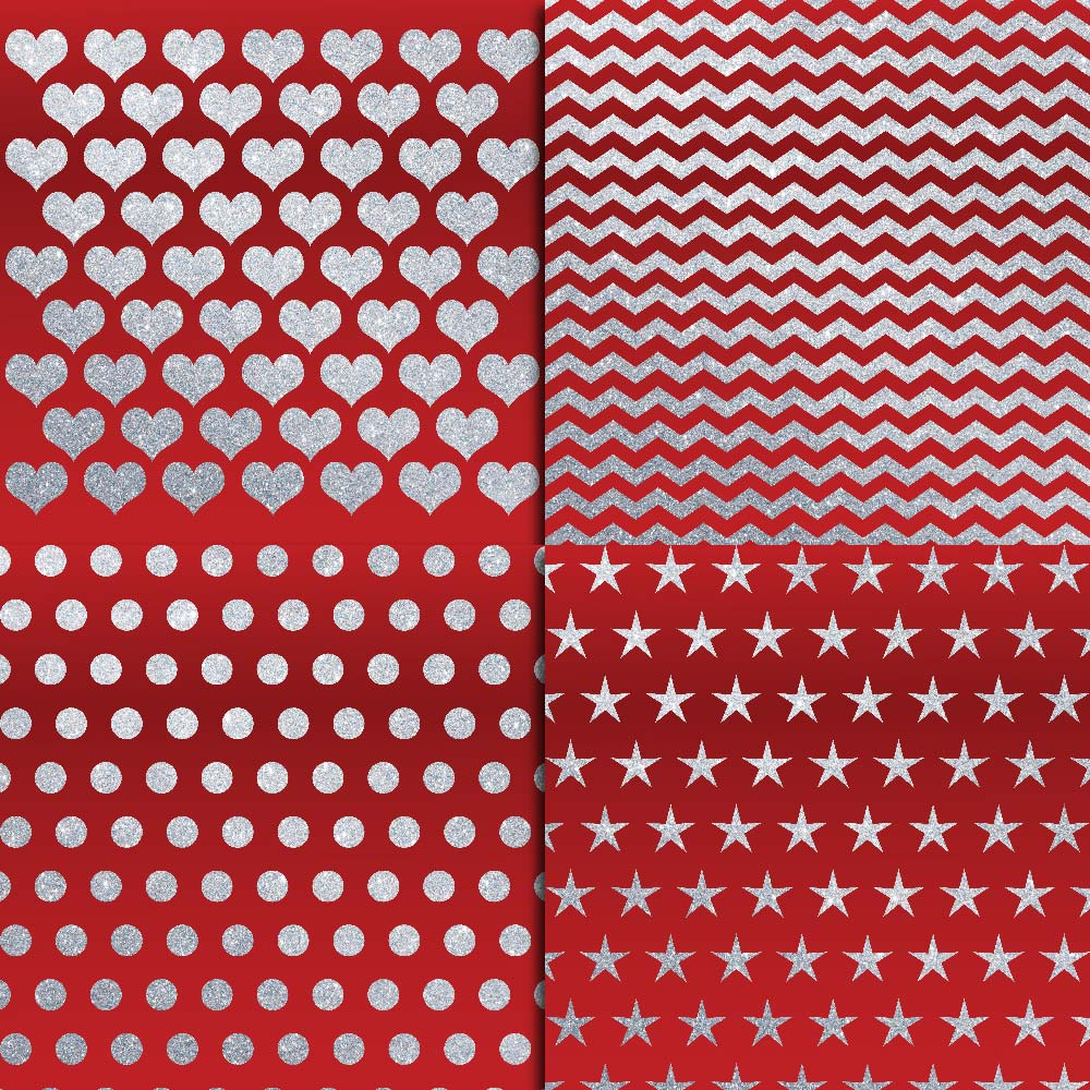 Royal Red & Silver Glitter Digital Paper example image 4