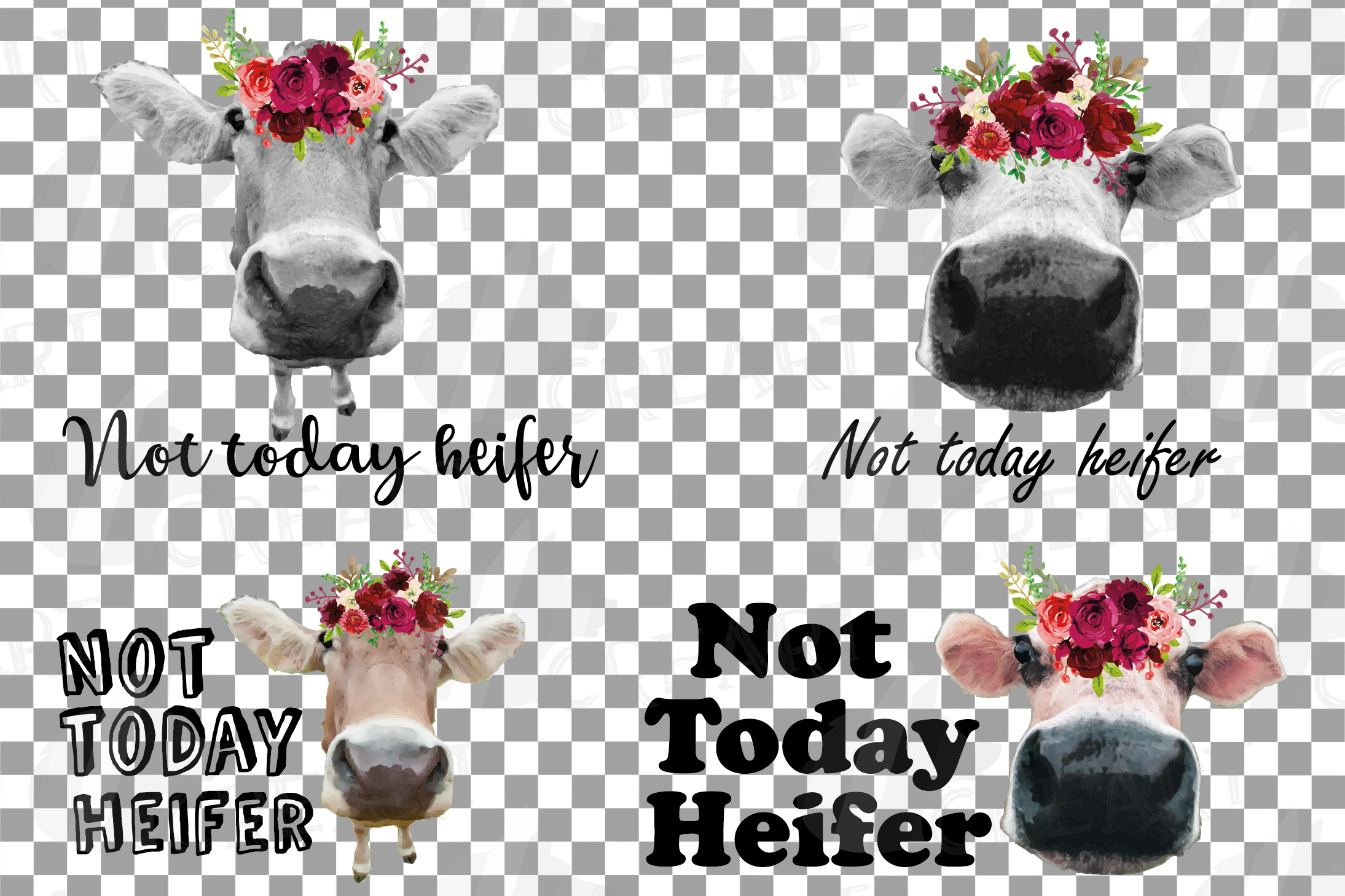Not today Heifer printable floral burgundy decor, floral cow example image 2
