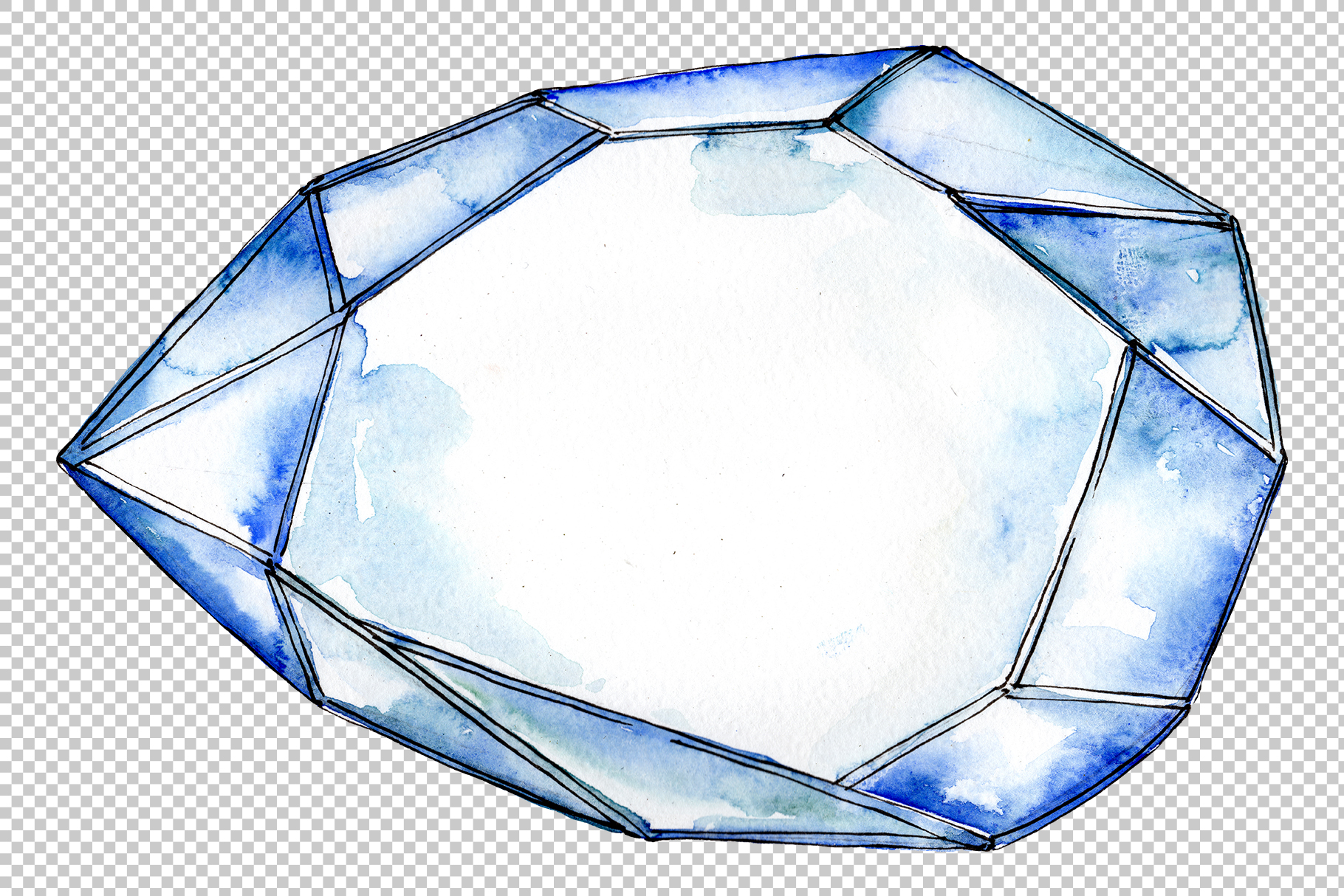 Crystals fine red and blue Watercolor png example image 5