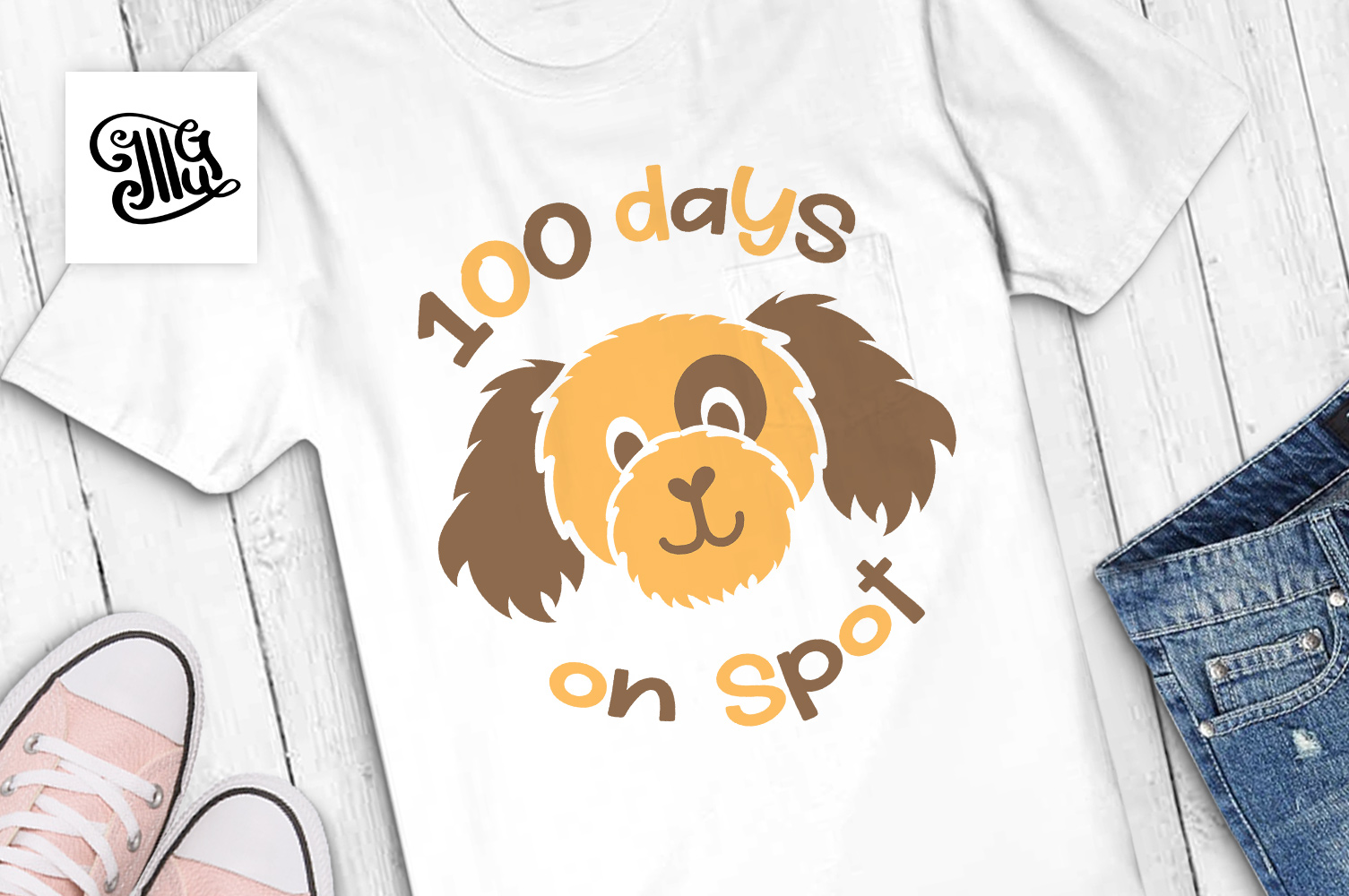 100 days of school for boy svg with dog clipart example image 1