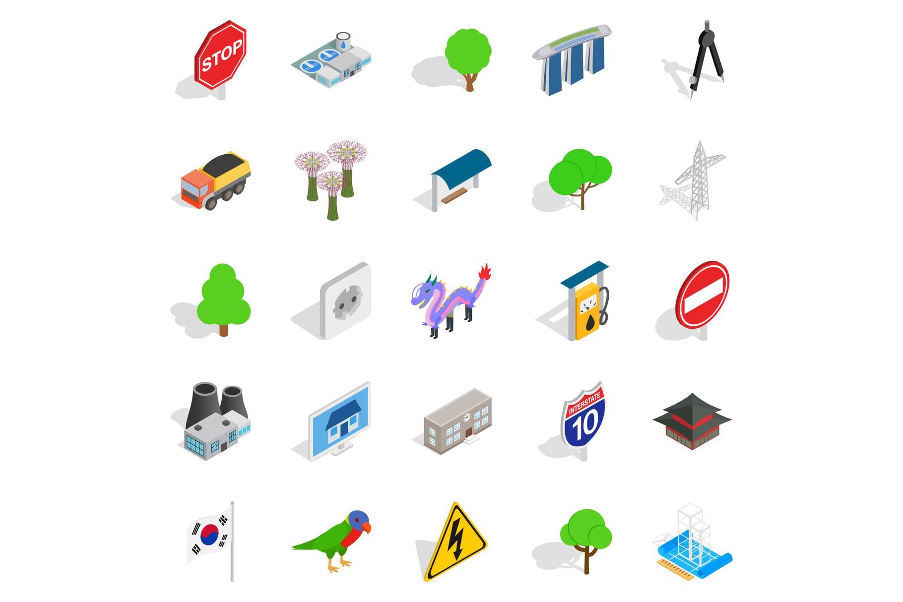 Roadside icons set, isometric style example image 1