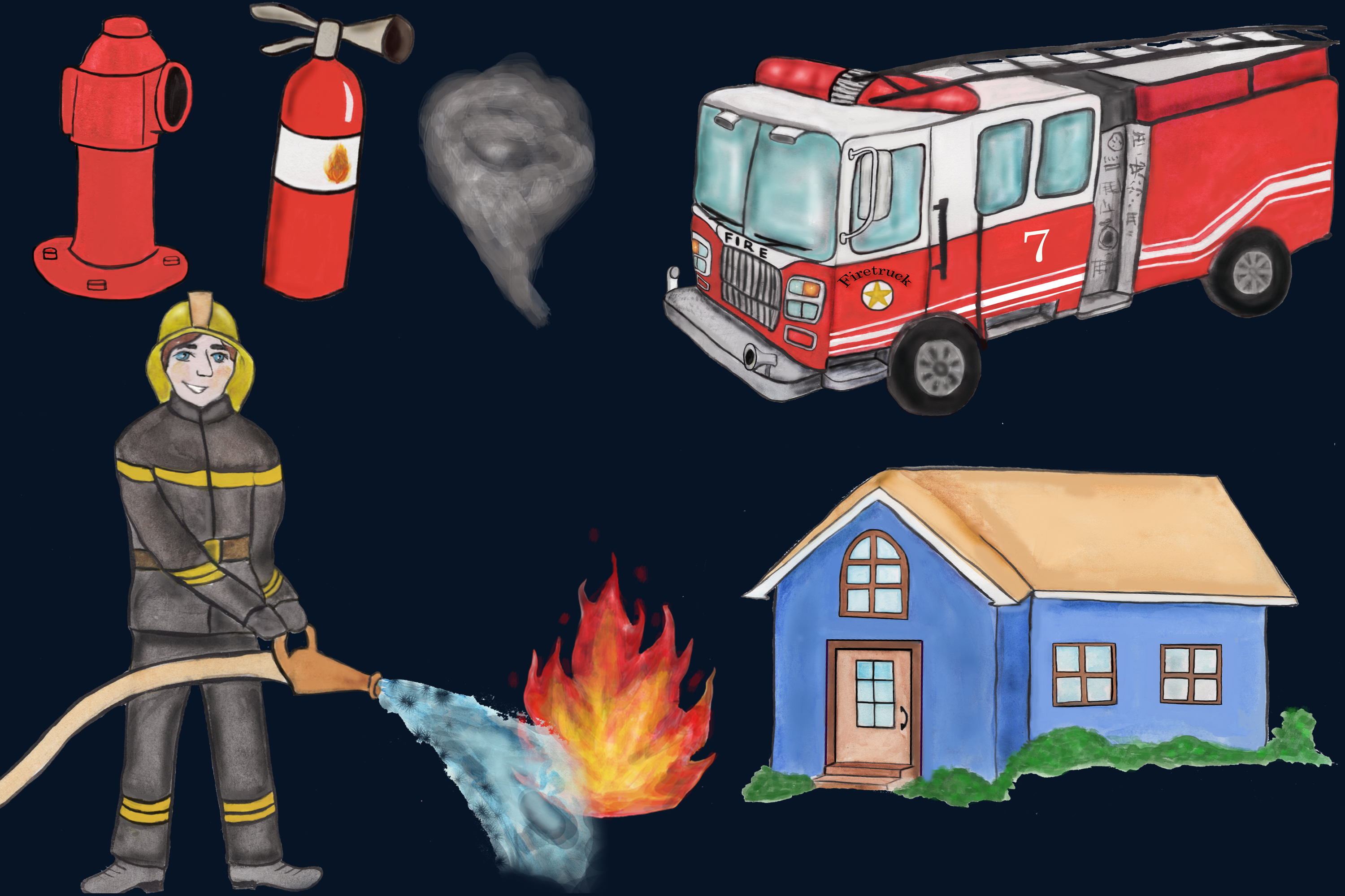 Firefighter clipart, fireman clipart, fire truck clipart PNG example image 3