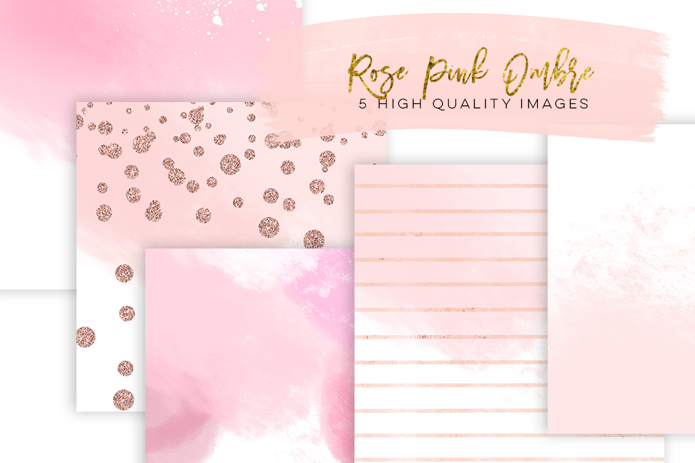 rose gold paper watercolor digital paper, Rose gold Scrapbook Paper, gradient watercolor digital paper, ombre gold rose pink texture digital example image 1