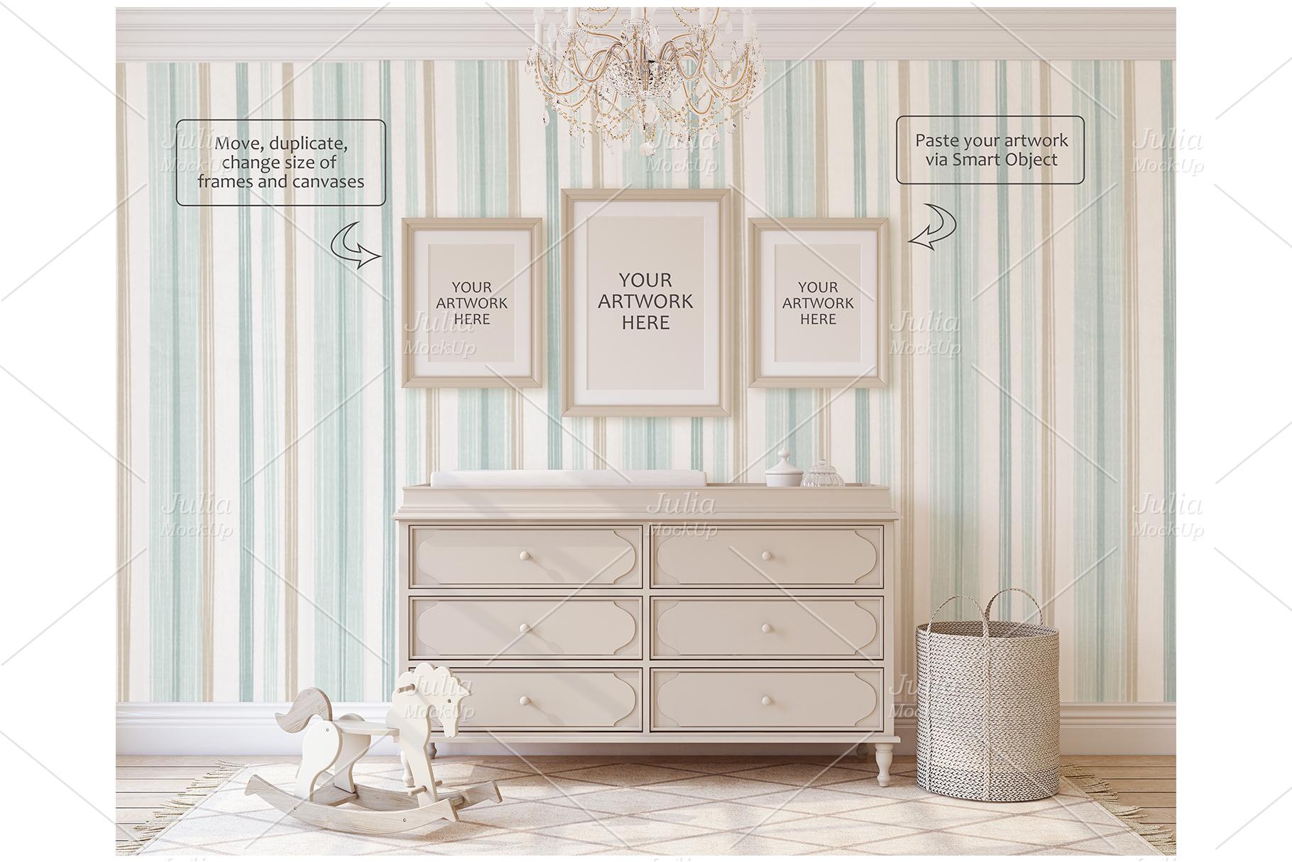 Romantic nursery. Wall&Frames Mockup. example image 7